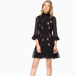 Kate Spade Cherry Sequin Shirt Dress Neck Tie